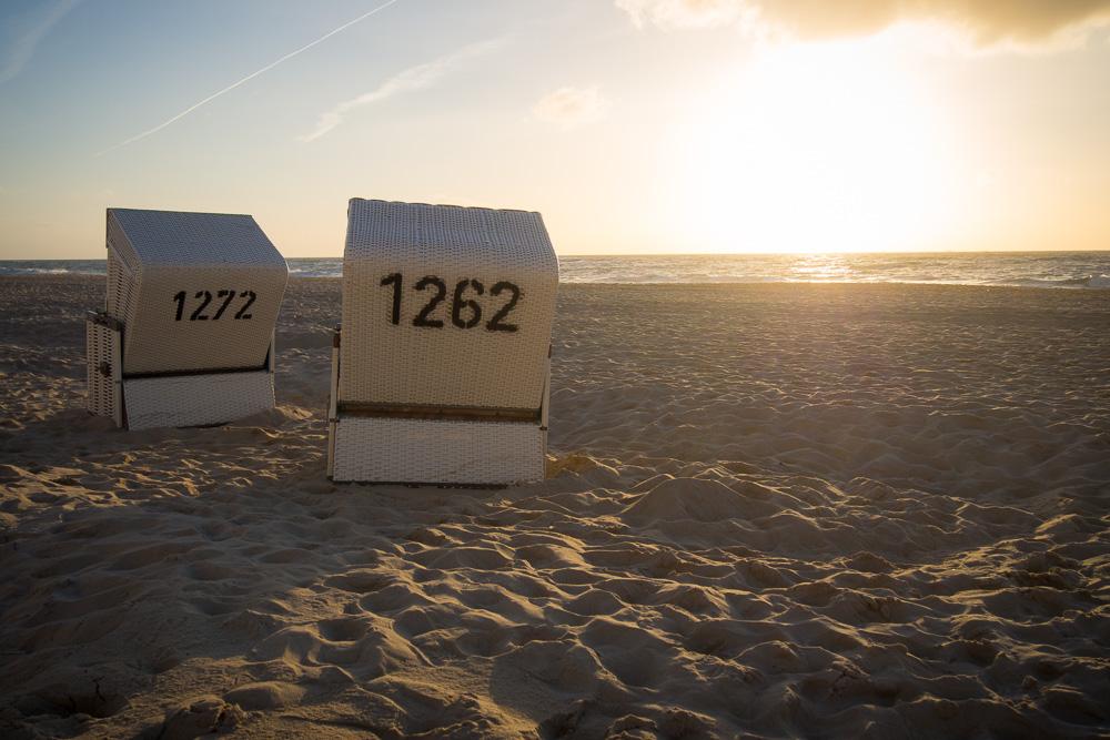 Sylt Strand – Strandkörbe Sonnenuntergang