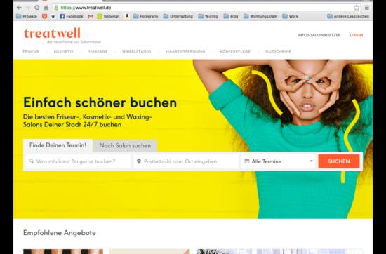 Screenshot der Treatwell Webseite